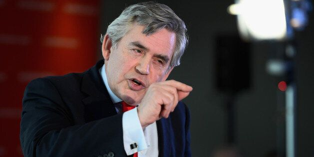 EDINBURGH, SCOTLAND - FEBRUARY 02:  Former UK Prime Minister Gordon Brown joins Scottish Labour leader Jim Murphy as they out
