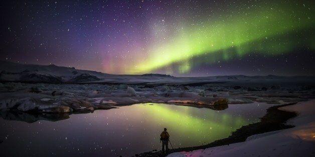 Iceland, Vatnajokull Ice Cap, Breidarmerkurjokull, Jokulsarlon, Aurora Borealis or Northern Lights