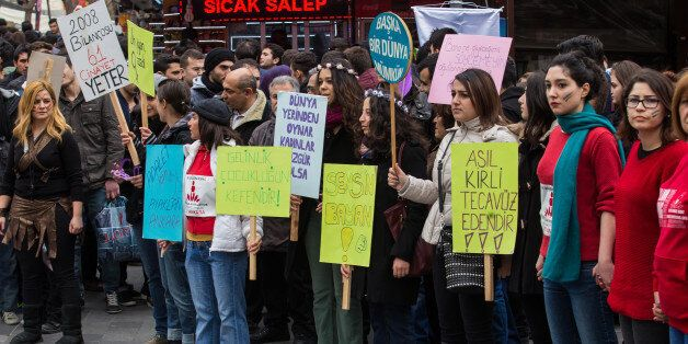 ANKARA, TURKEY - 2015/02/14: Protesters stand in a minute of silence to commemorate 20 years old Özgecan Aslan raped, killed