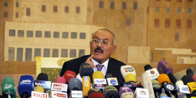 FILE - In this Dec. 24, 2011 file photo, Yemen's President Ali Abdullah Saleh speaks during a news conference at the Presiden
