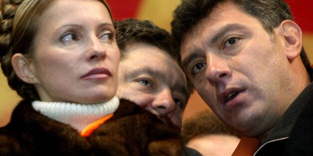 FILE - In this Nov. 22, 2004 file photo, Boris Nemtsov, a charismatic Russian opposition leader and sharp critic of President