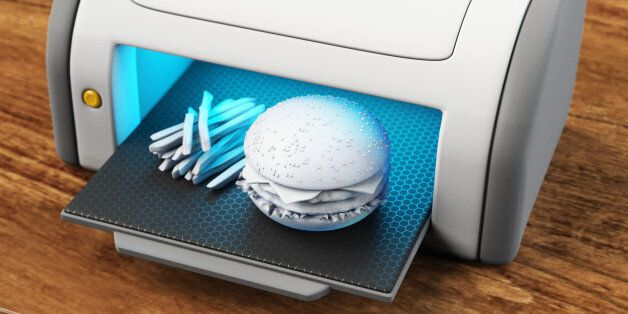 Futuristic illustration of artificial burger and french fires created using a 3D printer.