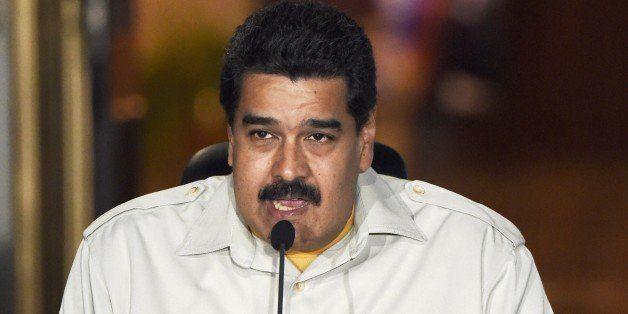 Venenzuelan President Nicolas Maduro speaks during a television broadcast in Caracas on February 19, 2015. Venezuela's intell