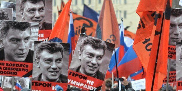 MOSCOW, RUSSIA - MARCH 1: People march in memory of Russian opposition leader and former Deputy Prime Minister Boris Nemtsov