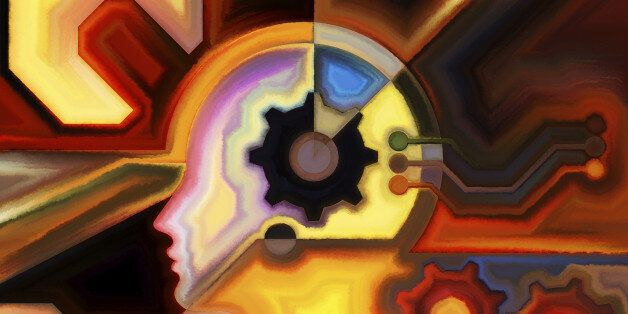Colors of the Mind series. Abstract composition of elements of human face, and colorful abstract shapes suitable as element i