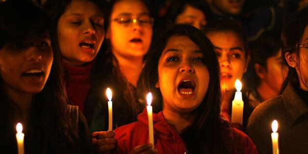 NEW DELHI, INDIA - DECEMBER 16: Akhil Bharatiya Vidyarthi Parishad (ABVP) activists take part in a candle march on the second