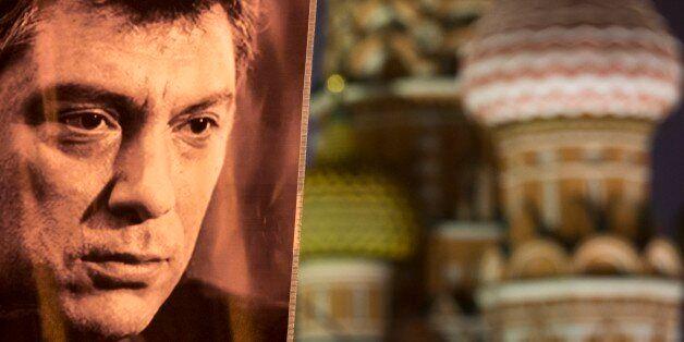 A portrait of Boris Nemtsov, a charismatic Russian opposition leader and sharp critic of President Vladimir Putin, who was gu