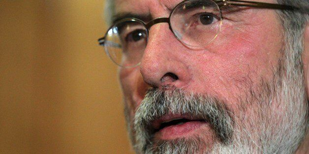 Republican party Sinn Fein leader Gerry Adams talks to the media during a press conference at a hotel in Belfast, Northern Ir