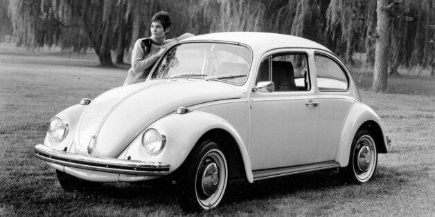 The 1969 German Volkswagen is shown in Oct. 1968 at an unknown location.  The VW beetle model offers the automatic stick shif