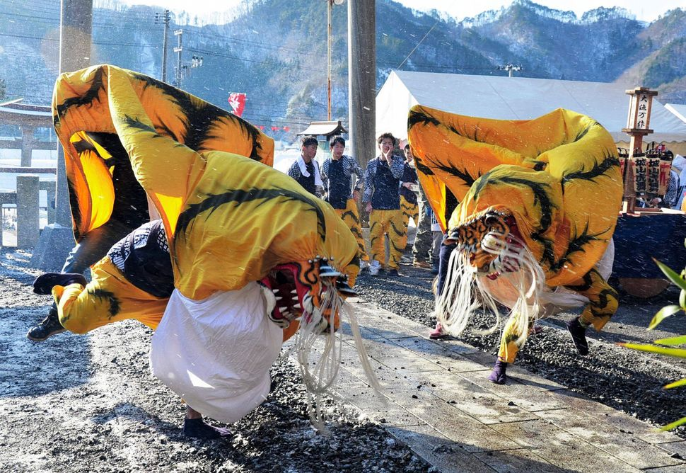 "The ""Tora Mai"" tiger dance is performed at the Kozuchi Shrine on Jan. 1, 2015, in Otsuchi, Iwate, Japan. The 2011 tsunami dev"