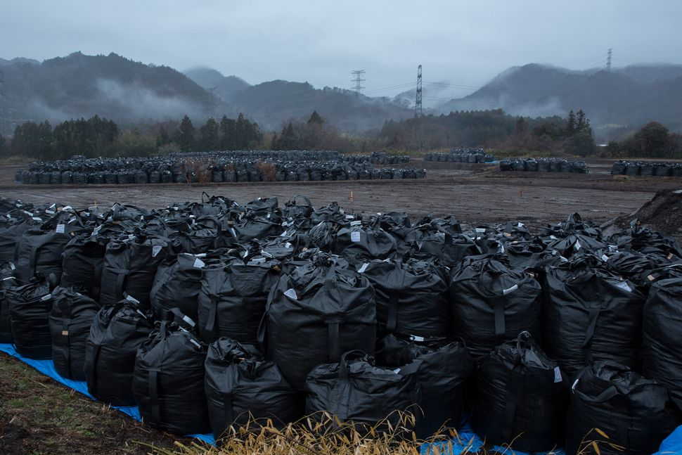 Bags of soil contaminated with radiation are stacked on March 9, 2015, in Tomioka town, Fukushima prefecture, Japan.