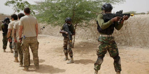 Nigerian special forces participate in an hostage rescue exercise at the end of the Flintlock exercise in Mao, Chad, Saturday