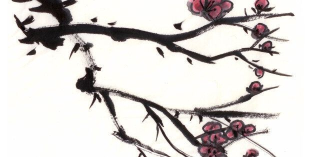 Chinese painting, blossom on paper.