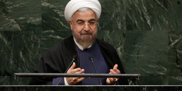 President Hassan Rouhani, of Iran, acknowledges the audience after his address to the 69th session of the United Nations Gene