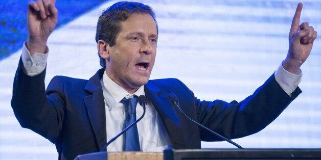 Israeli opposition Labour Party leader Isaac Herzog delivers a speech during an election campaign meeting in Tel Aviv on Janu
