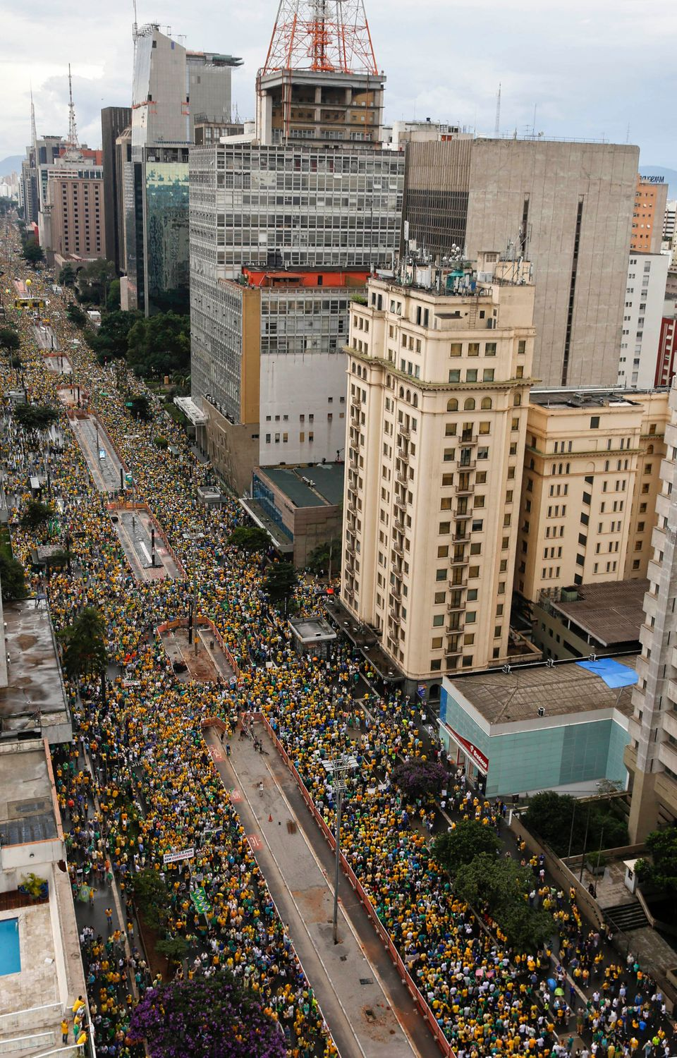 Demonstrators fill Paulista Avenue as they march to demand the impeachment of Brazil's President Dilma Rousseff in Sao Paulo,