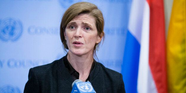 United States U.N. Ambassador Samantha Power speaks to the media following an U.N. Security Council meeting on the Ukraine, S