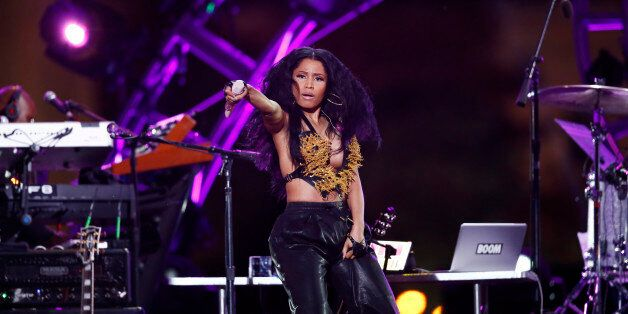 Nicki Minaj performs during an Independence Day celebration, Friday, July 4, 2014, in Philadelphia. (AP Photo/Matt Rourke)
