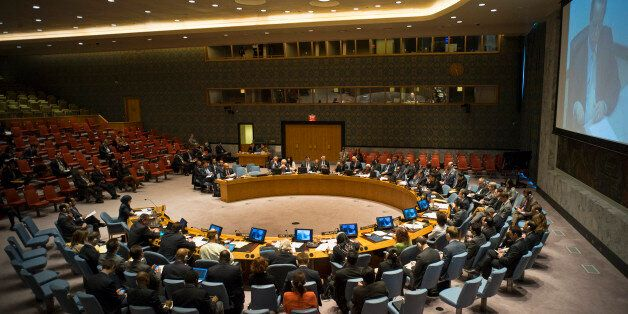 The United Nations Security Council meets to discuss the situation in the Middle East at UN headquarters, Sunday, March 22, 2