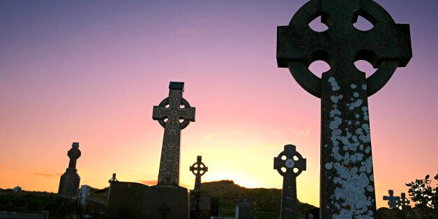 celtic cemetery at duck with crosses in foreground
