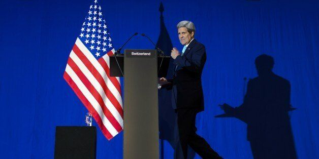 US Secretary of State John Kerry walks to the podium during a press conference at the Swiss Federal Institute of Technology i