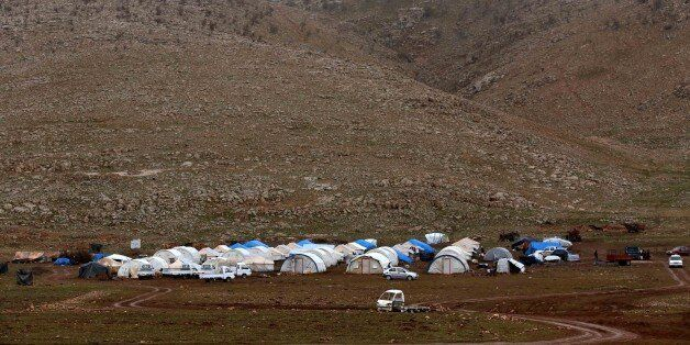 A general view shows a make-shift camp for displaced Iraqi people from the Yazidi community, who fled violence between Islami