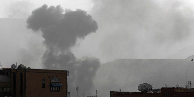 Smoke rises from the Faj Attan Hill area in the Yemeni capital, Sanaa, on April 9, 2015, following an alleged air strike by t