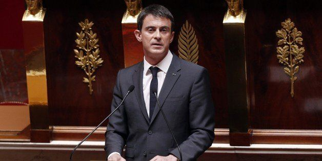 French Prime Minister Manuel Valls delivers a speech at the National Assembly in Paris on April 13, 2015, as French lawmakers