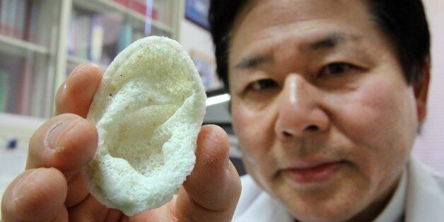 Tsuyoshi Takado, professor of the University of Tokyo Graduate School of Medicine, displays an artificial ear, made of polyac