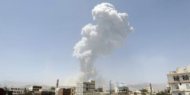 Smoke billows from the Fajj Attan Hill following a reported airstrike by the Saudi-led coalition on an army arms depot, now u