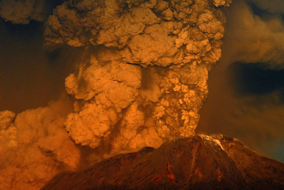 The Calbuco volcano erupts on April 22, 2015 near Puerto Varas in the Llanquihue Region, Chile. The volcano, considered as on