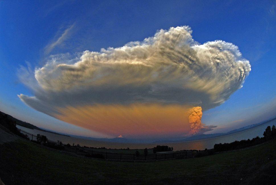 The Calbuco volcano erupts on April 22, 2015, near Puerto Varas in the Llanquihue Region, Chile.