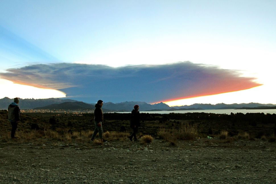 View from the Nahuel Huapi lake, province of Rio Negro, 1570 km southwest of Buenos Aires, of a menacing cloud from the Calbu