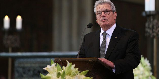 German President Joachim Gauck delivers a speech during a mourning ceremony at the Cathedral in Cologne, Germany, Friday, Apr