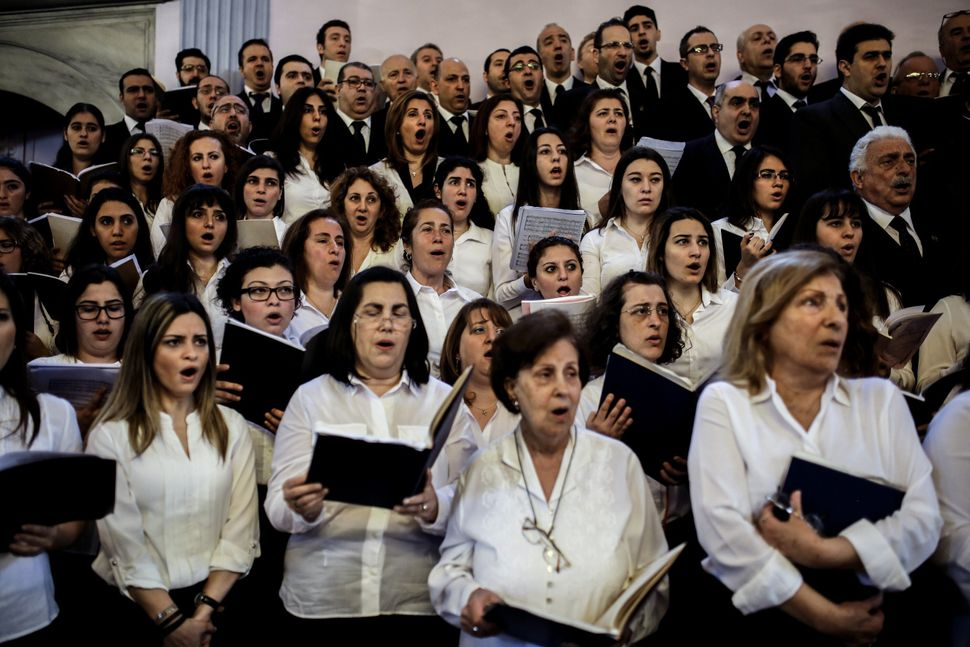 The Armenian Patriarchate choir sings during a commemoration service at the Armenian Patriarchate in Istanbul on April 24, 20