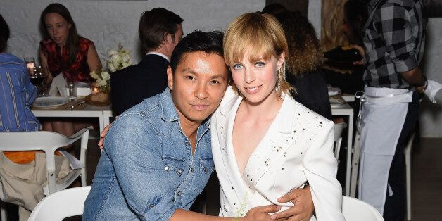 NEW YORK, NY - APRIL 15:  Fashion designer Prabal Gurung (L) and model Edie Campbell attend the 2015 Tiffany Blue Book dinner