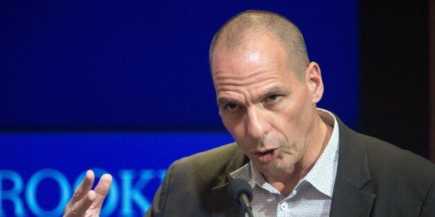Greek Finance Minister Yanis Varoufakis delivers remarks at the Brookings Institute April 16, 2015, in Washington, DC.