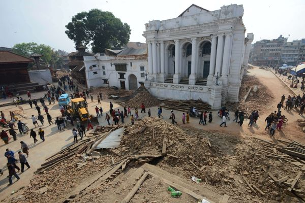 CORRECTION A general view shows the badly damaged historic area of Durbar Square in Kathmandu on April 28, 2015.  The death t
