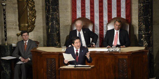 Japanese Prime Minister Shinzo Abe addresses a joint session of Congress at the US Capitol in Washington, DC, April 29, 2015.