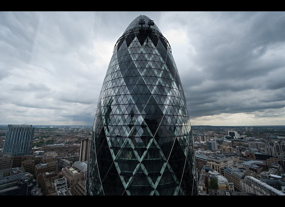 "London's 40-story Swiss Re Building is also known as 30 St Mary Axe, or, if you prefer a more colorful nickname, the ""Gherkin"