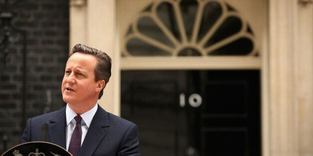 LONDON, ENGLAND - MAY 08:  British Prime Minister David Cameron delivers a speech outside10 Downing Street on May 8, 2015 in