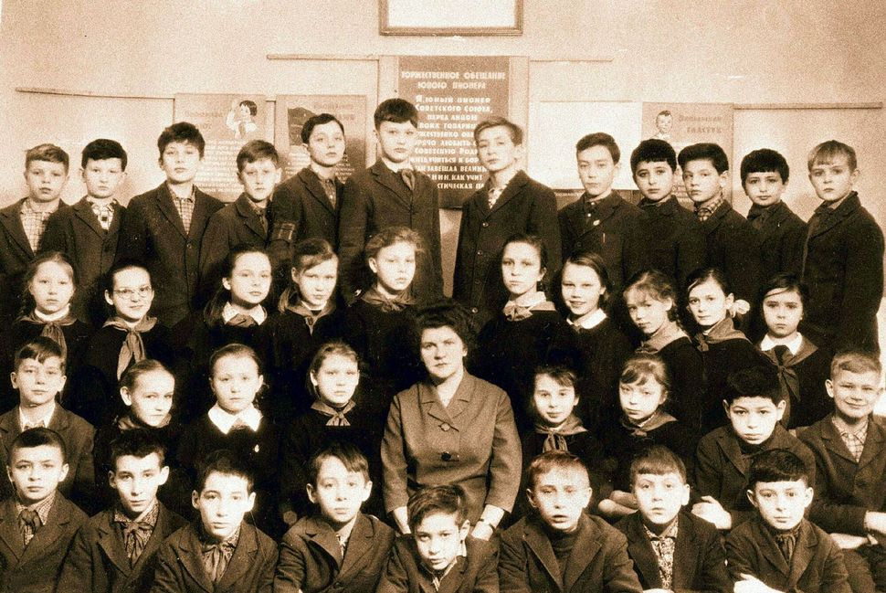 A class photo with Vladimir Putin (first row, third from right), dated 1964-65, in Russia.