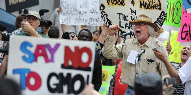 David King, founder and chairman of the Seed Library of Los Angeles, speaks to activists during a protest against agribusines