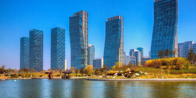 Inspired by New York City's much larger Central Park, Songdo's Central Park serves as a green oasis from the urban city sprou