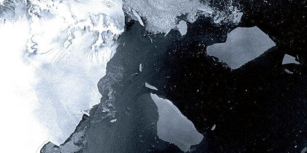The Larsen B ice shelf, a large floating ice mass on the eastern side of the Antarctic Peninsula, that has shattered and sepa