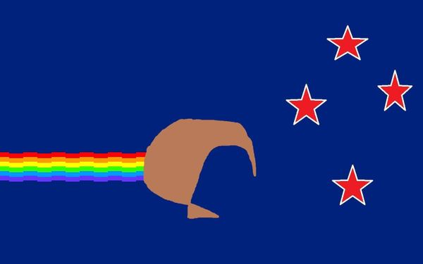 This flag combines the Southern Cross and colour scheme of our existing flag, with the rainbow design of the popular Nyan Cat