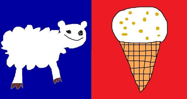This design represents all of NZ because we have lots of sheep and love hokey pokey ice cream. I even included the blue and r