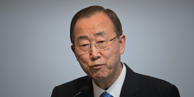 UN Secretary General Ban Ki-moon speaks at a 'UN Global Compact - Korea Leaders Summit' event at a hotel in Seoul on May 19,