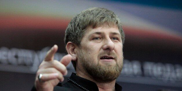 Chechen regional leader Ramzan Kadyrov speaks at his meeting with school directors in Chechnya's provincial capital Grozny, R