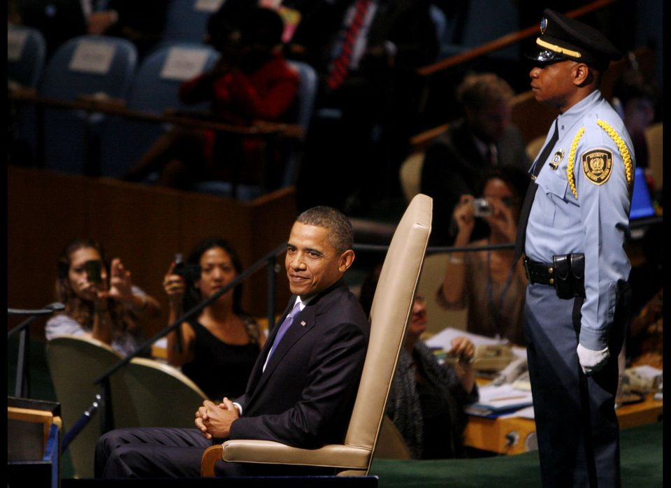 Obama sits after addressing the 65th session of the United Nations General Assembly at United Nations headquarters Thursday.
